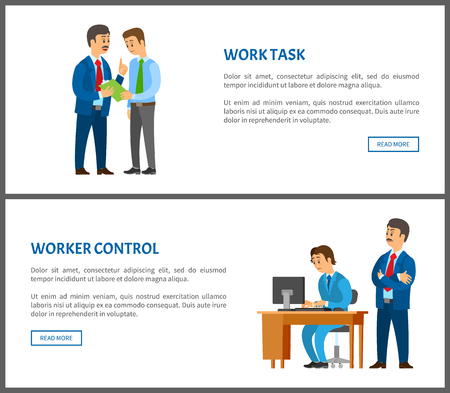 Work task and worker control, boss giving instructions to employee, conversation between colleagues. Leader supervising coworker, vector posters set