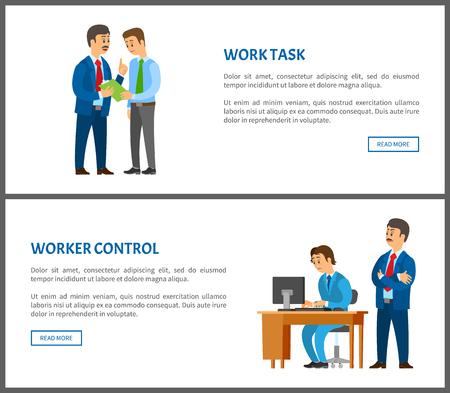 Tâche de travail et contrôle des travailleurs, patron donnant des instructions à l'employé, conversation entre collègues. Chef supervisant un collègue, ensemble d'affiches vectorielles Vecteurs