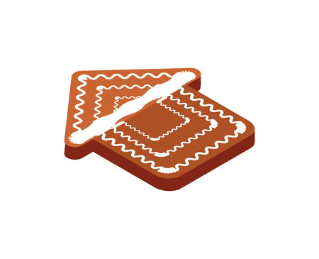 Gingerbread cookie in form of house Christmas holidays isolated icon 3d vector. Building made of ginger ingredient, traditional meal on winter event