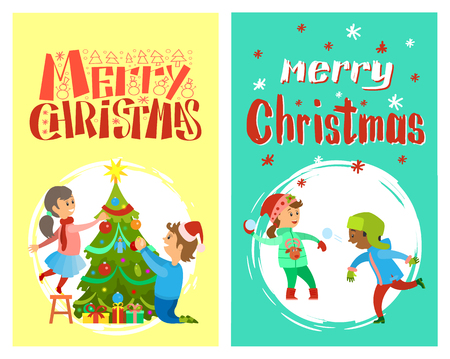 Merry Christmas holidays of children playing snowballs and decorating New Year tree, vector in round brush frames. Boy and girl winter games, kids outdoors