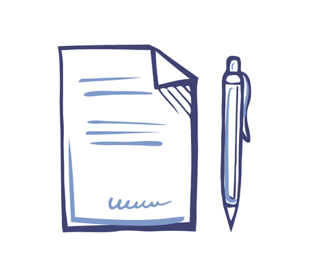 Documentation or article writing icons. Office paper document page and fountain pen isolated sketch, line art vector. Publication with written information 일러스트