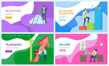 Teamwork and business search, new ideas accumulation vector. Profits in making money, financial level, online services, male working in distant form