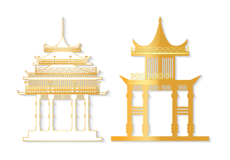Golden and white Japan gate with decorated roof isolated in flat style. Torii gateway sign, Japanese traditional old asian colorful symbol vector