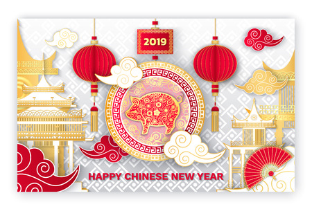 Happy Chinese New Year 2019 piglet symbol sign vector. Piglet with flora in circle, clouds and hand fan, architecture of Asia and Eastern countries