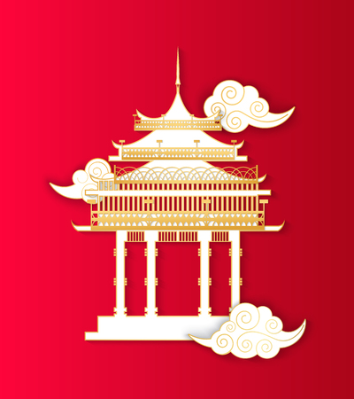 Asian architecture building in Asian style isolated icon vector. Construction in traditional ancient culture. Oriental drawing temple with clouds