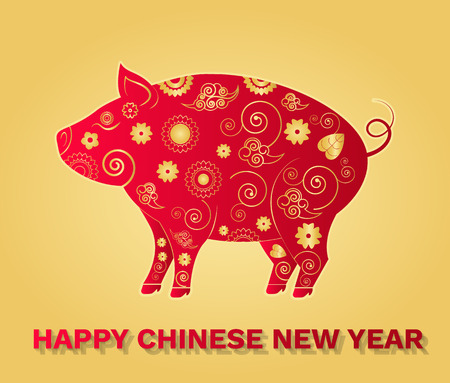 Chinese lunar Year of pig holiday, vector greeting card with asian festive ornaments. Oriental patterns and zodiac animal isolated on golden, vector paper cut