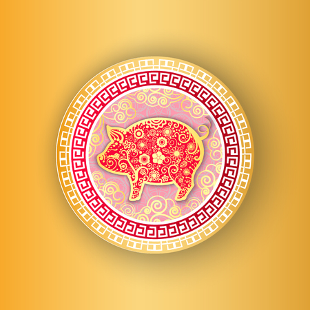 Gold circle decorated with piggy and flowers. Year of the pig greeting Chinese New Year in paper art style. Holiday design card with animal vector Illustration