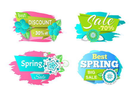 Spring sale seasonal proposition of markets banners set vector. Flowers in bloom, reduction of price, clearance and special offer for customers of shop
