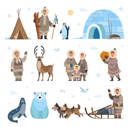 Expediciones y descubrimientos árticos Vector del polo norte. Animales pingüino y oso grizzly, husky y perros con trineos, inuits y cabañas copos de nieve nevadas Ilustración de vector