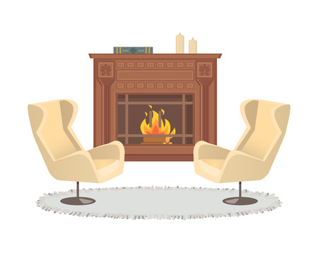 Fireplace with vase decoration and armchairs interior vector. Homelike atmosphere, carpet on floor, ground covered with rag. Burning logs in stove