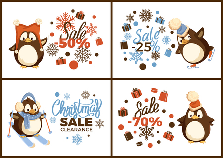Christmas sale clearance, skating and skiing penguin in headwear and scarf. Card decorated box in wrapping, snowflake ornaments and big discount vector