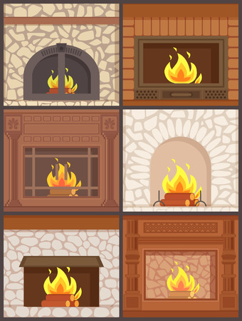 Fireplace wooden and stone paved furnaces set vector. Burning logs and wood inside, opened and closed types of heating system of house in wintertime