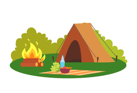 Camping place nature environment tent and bonfire vector. Camp and blanket with bowl and bottle with water, veggies and broccoli natural surrounding