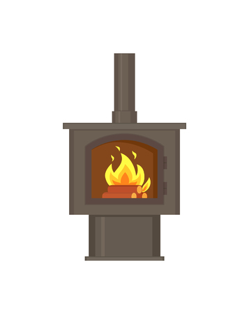 Fireplace with fire burning inside with pipe, tube vector. Isolated icon of fire, decoration of home wooden logs and decor of house metal interior