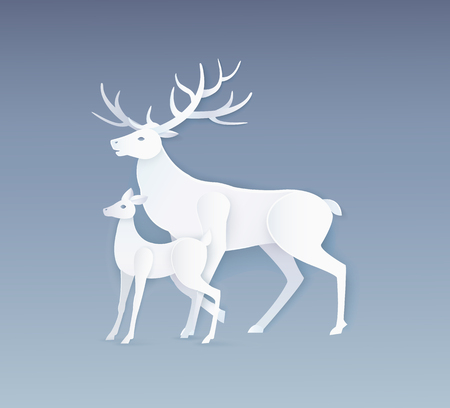 Deer and fawn with full side view. Card in flat style with white animals isolated on grey vector. Simple design of beasts, paper art and craft style Ilustracja