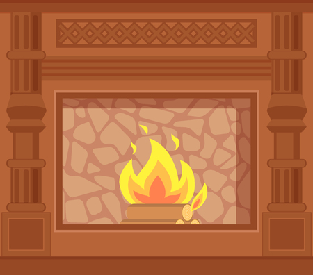Fireplace with carved wooden decoration of sides vector. Closeup of wood logs in fire, flames in furnace with stone paved backing heating house system Stock Vector - 116179746