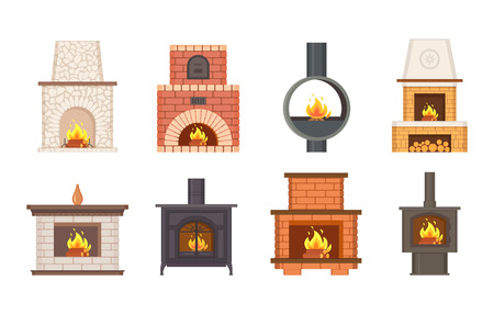 Fireplaces with shelves and different pavement types vector. Isolated icons set of stoves and open metallic rounded pipe, stone and brick furnace