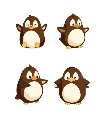 Penguins showing emotions animal isolated icons set vector. Seabirds with happy faces, gesturing and walking, funny wildlife, emotional characters Ilustração