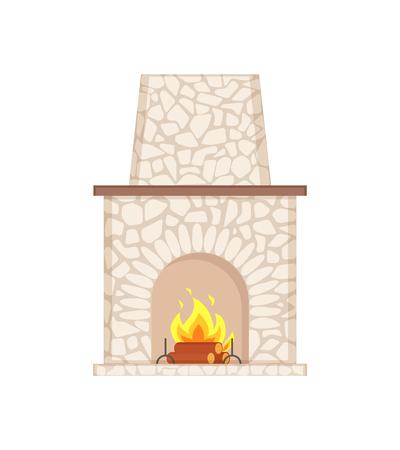 Cheminée avec une longue cheminée pavée de vecteur d'icône isolé en pierre. Étagère pour objets, forme arrondie de poêle avec espace ouvert, flammes de feu et bûches de bois