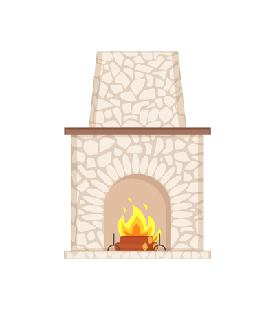 Fireplace with long chimney paved in stone isolated icon vector. Shelf for items, rounded shape of stove with open area, fire flames and wooden logs Illustration