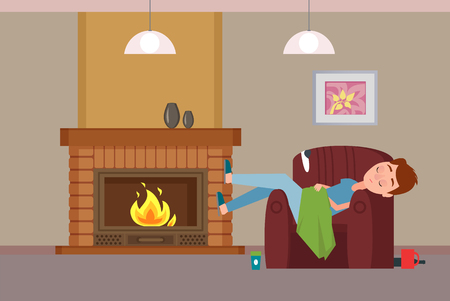 Person covered with blanket sleeping by fireplace vector, Teenage boy on armchair resting by warmth, picture on wall, cup with coffee beverage and lamps