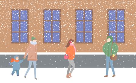 Mère et enfant passant par le bâtiment avec le vecteur de fenêtres. Rue remplie de gens vêtus de vêtements chauds qui se dépêchent de rentrer à la maison. femme, tenue, sac, sac à main