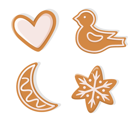 Winter holiday shapes of gingerbread vector. Christmas cookie figurines of heart and bird, moon and snowflake with pattern in flat style isolated on white
