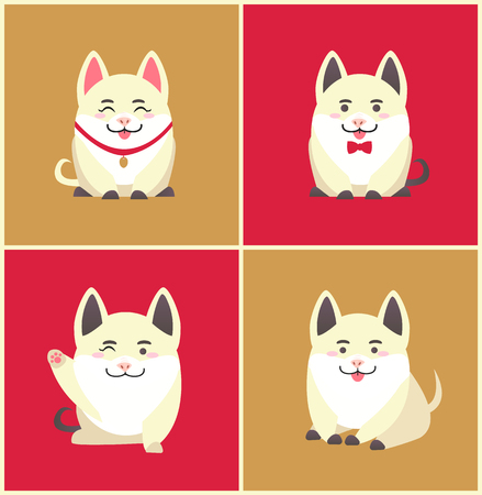 Chinese New Year animal pet pig animal in collar vector. Pig pretending to be puppy wearing bow on neck, domesticated canine holiday celebration set