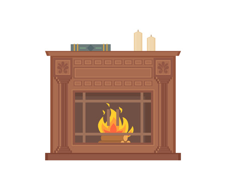 Fireplace with decorative vases and ornaments isolated icon vector. Wooden material in fire, burning logs, ornamental decor and care frame flames