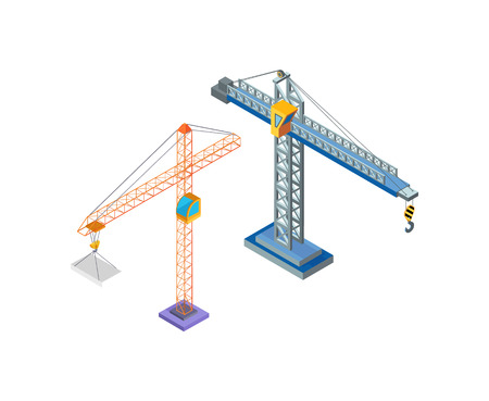 Crane industrial machine, steel tower with hook for lifting blocks icons vector. Building constructions, hoist working. Machinery lift moving capacity