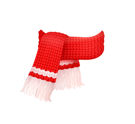 Red knitted scarf with white woolen threads isolated vector icon. Winter cachemire fashion handmade muffler, warm neckerchief accessory, wintertime cloth Çizim