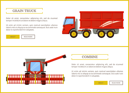 Grain truck and combine set vector. Posters with text and agricultural machinery for harvesting and transporting crops. Farming industry machines Foto de archivo - 116317729