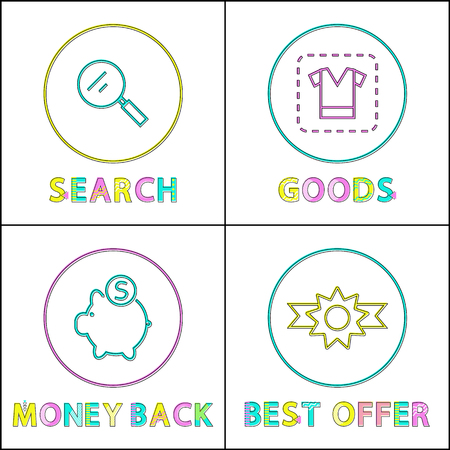 Best offer clearance posters set. Searching for great goods in internet, order and get money back. Clearance online shopping, vector illustration Archivio Fotografico - 125552035