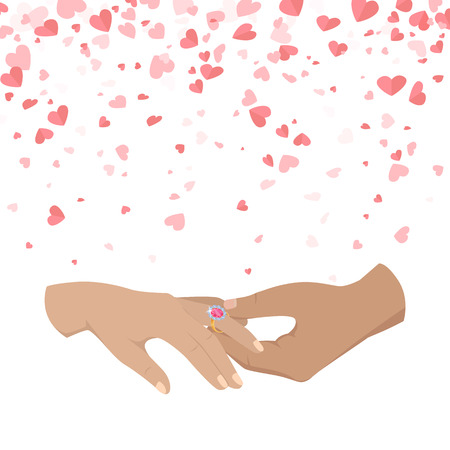 Man making proposal two woman, vector hands isolated on white background with pink hearts. Male and female arms, ring with diamond on finger, happy couple