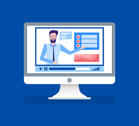 Online courses lead by male tutor teacher on video vector. Isolated icon of person giving information for study, home assignments and material explanation Illustration