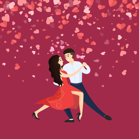 Danseurs homme et femme, Saint Valentin. Vecteur de danse de personnage de dessin animé. Carte décorée de coeurs, fille en robe et homme en costume, vecteur de danse romantique Vecteurs