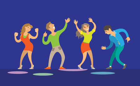 Dancing women and men on blue stage. People with hand up at night club, performance and smiling dancers on dance-floor, disco festival flat vector