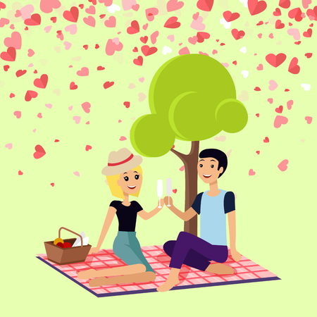 Valentine day girl and boy sitting on map drinking champagne. Romantic spending time near tree, couple drinking. Festive card decorated with hearts vector