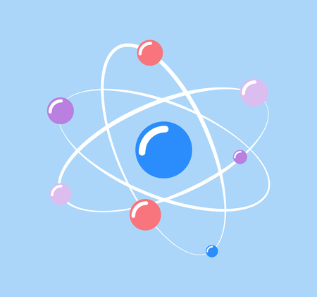Atom  and small particles isolated icon of chemical element vector. Molecular structure, protons and neutrons moving on spiral, scientific research info