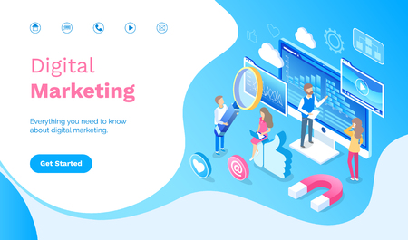 Digital marketing people working with infographics vector. Man and woman dealing with optimization, holding magnifying glass, magnet and likes website