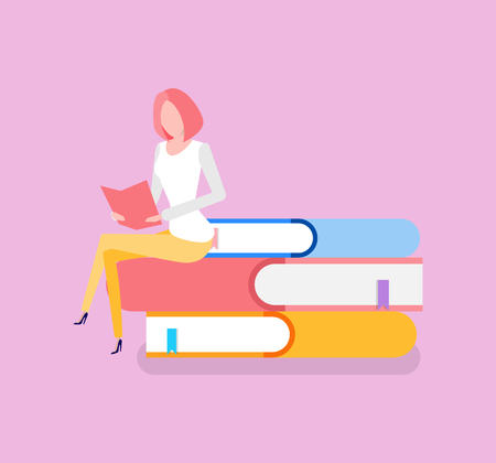 Woman sitting on pile of books education knowledge receiving vector. Bookworm with printed publications getting information from encyclopedia reference