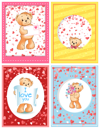 Bear plush toy with love letter valentines holiday vector. Celebration of special day for couples, i love you poster, hearts and greeting card set
