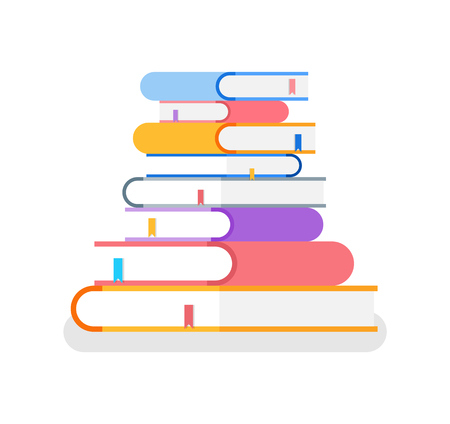 Books in colorful cover with bookmark lie on each other. Symbol of knowledge, education in university. Literature isolated on white in flat vector Vektorové ilustrace