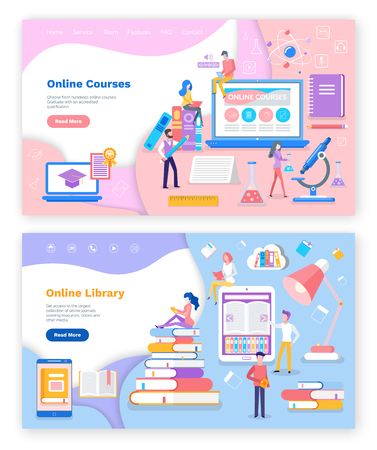 Online library and courses for students studies vector. Microscope and scientist discovering issues, laptop internet assistance, ebook and person reader