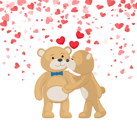 Teddy girl kissing and hugging boy, festive card with hearts. Bear toy with blue bow, cartoon character vector. Boyfriend and girlfriend Valentine day