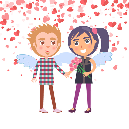 Boy holding girl with flowers vector. Smiling woman in purple clothes and man with plaid shirt, people with wings. Boyfriend and girlfriend Valentine day Illustration