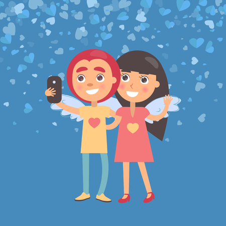 Smiling girlfriend and boyfriend making selfie. Girl and boy with wings, woman waving hand and hugging man. Blue Valentine card decorated by hearts vector
