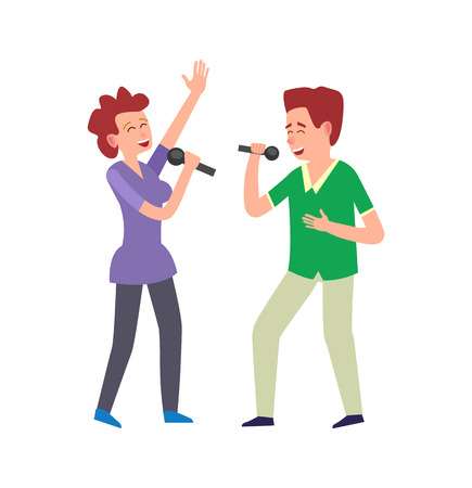 Music performance by duo, couple man and woman vector. People singing, adults holding microphones expressing emotions. Vocals vocalists singers together Illustration