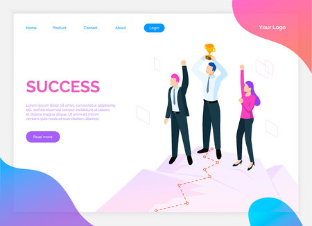 Success of team, teamwork and award for work site vector. Online web page with text sample and people happy of being successful, male and female online in flat style