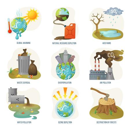 Vector de problemas de agotamiento de recursos naturales del calentamiento global. Eliminación de desechos, contaminación del aire y del agua, capas de ozono y deforestación, destrucción de bosques. Medio ambiente problemático en estilo plano.